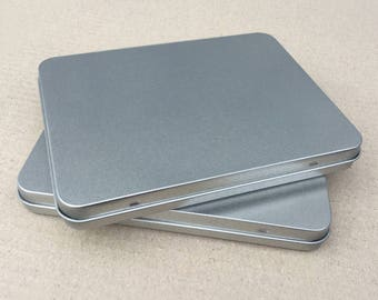 Rectangular Metal Tin, Blank Hinged Tin, Color Silver 350ml Tin box, A6 Size Tin Box (a set of 6 tin boxes), Tin Box For Craft Supply