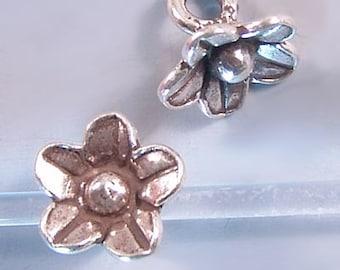 Karen Hill Tribe Silver Flower Pendant T435 (3) Flower Charms, Flower Pendant