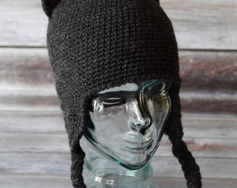 100% Acrylic Cat Hat With Earflaps - Crochet - Dark Grey Heather - Women/Teen/Girls/Adult