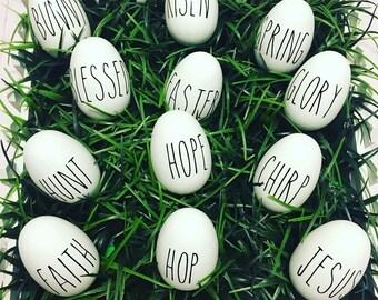 Easter Spring Egg Decor, Christian Decor, Spring Decor, Chirp, Blessed, Jesus, Hop, Bunny, Dozen Eggs, Easter