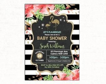 FLAMINGO Invitation. Flamingo Baby Shower Invitation. Tropical Pool Party Invite Gold Glitter Summer Luau French Stripes NEUTRAL Shower FLA2