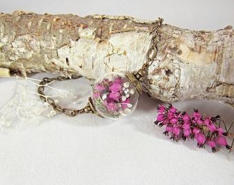 Heather and babys breath bracelet, nature jewelry, terrarium jewelry, real flower bracelet, english heather