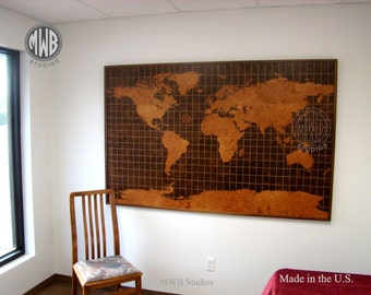 Wall Decor, World Map in Walnut and Madrone Burl Woods.