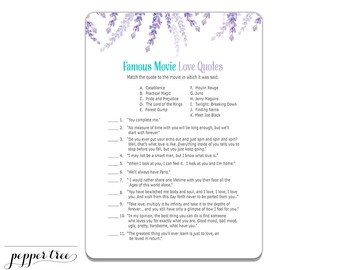 famous movie love quotes cards bridal shower activity purple floral flower printable bridal