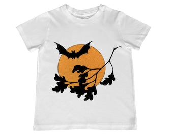 Great Vintage Halloween illustration of Bat Against a Full Moon on kids TShirt - personalization available - youth sizes xs, s, m, l, xl