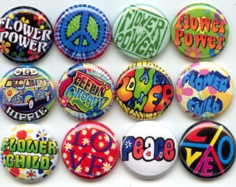 "HIPPIE FLOWER POWER  Peace Love  12 Pinback 1"" Buttons Badges Pins"
