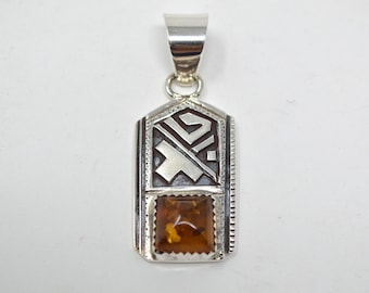 """Navajo Peter Nelson Abstract Sterling Silver Geometric """"Rug"""" Oxidized Design Amber Necklace Pendant - Native American - 589997418"""