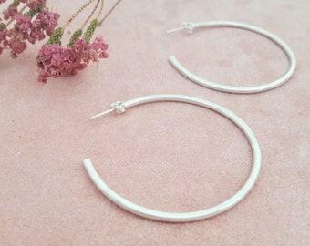 Eco sterling silver simplistic hoop earrings