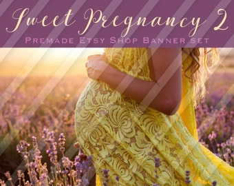"Etsy Shop Banner Set - Graphic Banners - Branding Set - ""Sweet Pregnancy 2"""