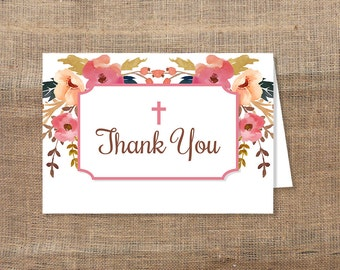 Christian Thank You Card, Pink Watercolor Floral Baptism, Dedication Thank You, INSTANT PRINTABLE