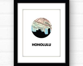 Honolulu map art | Honolulu, Hawaii print | Honolulu Oahu map art | Hawaii map art | Hawaii wall art print | travel poster | travel gift |