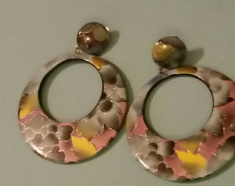 Large round painted earrings