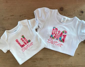Lil Sister / Big Sister Sibling Outfits - Listing is for ONE Lil Sister and ONE Big Sister Shirt/Onesie (TWO total)
