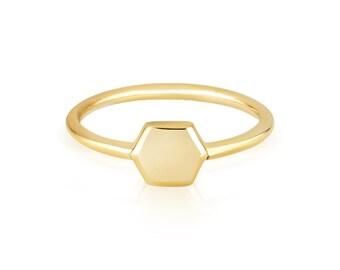 Hexagon Geometric Ring 18 carat solid gold