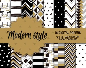 Modern style digital paper, black and white digital paper, bronze background, neat digital paper, neat pattern, black and white pattern