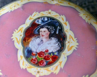1930's Pink Tin with Portrait