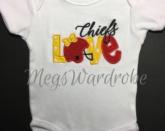 Love Chiefs- Kansas City Football Love- Onesie/T-Shirt- Embroidered