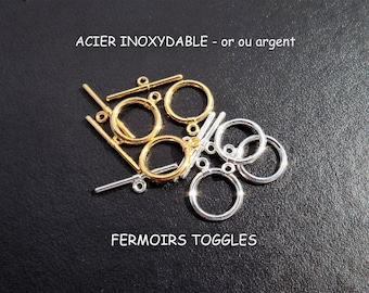 Clasp Toggle 23 mm stainless steel Silver or gold (x 2)