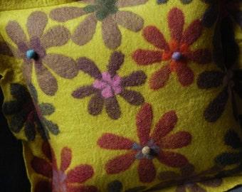 chartreuse flower pillow