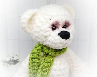 Plush White Bear Plush Teddy Bear Knit Bear Softie Stuffed Bear Knit stuffed bear Little Plush Bear knit bear toy Cute Plush Teddy bear