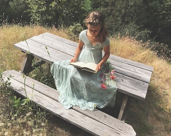 Song of Sagebrush with Seafoam Lace Long Infinity Convertible Wrap Twirl Dress~ Custom Choose any fabrics~ Flower girl, Birthday Dress