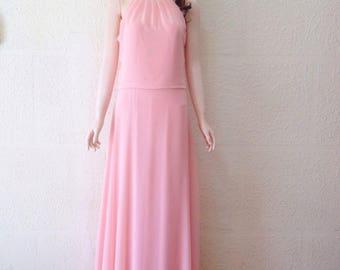 Baby Pink Prom Bridesmaid Dress. Baby Pink Maxi Dress. Chiffon Floor Length Dress.