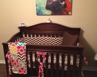 Custom Fitted Crib Sheet Cowhide Fabric
