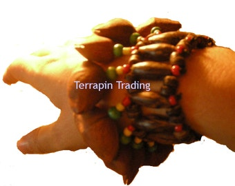 Fair Trade Amazonian Shaman Calabash Wrist / Leg Rattle made from Tapar Tree Nuts r116