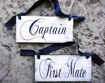 Captain & First Mate with Thank You on the back, Rustic Wedding Chair Signs. Vintage Paint, 2-sided Nautical Wedding Signs, Photo Props.