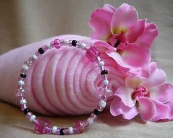 Fun Memory Wire Bracelet: Pink, Black, and White - Great Gift for Girls, Gift for Girlfriend, Gift for Her, Gift for Niece, Gift for Mom...