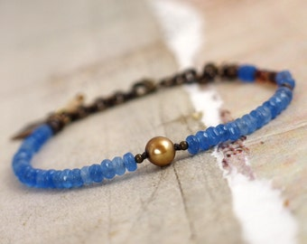 Blue agate bracelet Bronze pearl jewelry Elegant jewelry Gemstone bracelet Pearl bracelet Blue jewelry for bride Blue bracelet with clasp