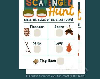 Scavenger Hunt Cards, Digital Download, DIY Printing