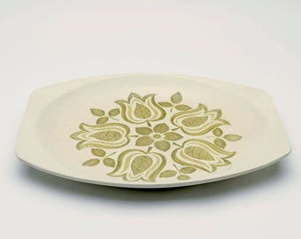 Vintage ceramic serving platter, 1970's platter, floral platter, retro serving plate, floral platter, retro platter, 70's platter, plate