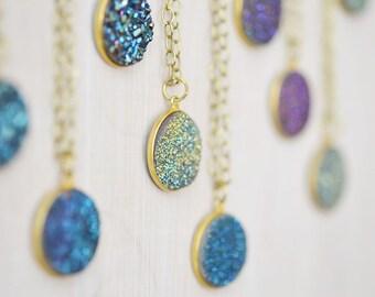 Druzy Necklace, Round Druzy Necklace, Raw Brass Necklace, Boho Necklace, Long Necklace, Natural Raw Druzy