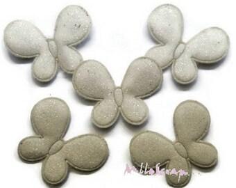 Set of 5 butterflies fabric effect white embellishment glitter scrapbooking (ref.310). *.
