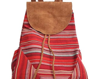 Red boho chic taupe suede and backpack in organic cotton