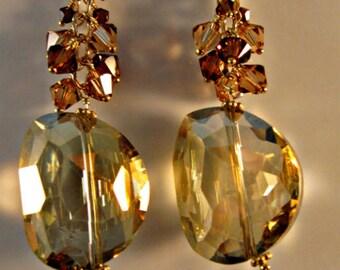 Topaz Cluster Earrings,gold earrings, topaz earrings, crystal earrings, swarovski crystal earrings,drop earrings,dangle earrings