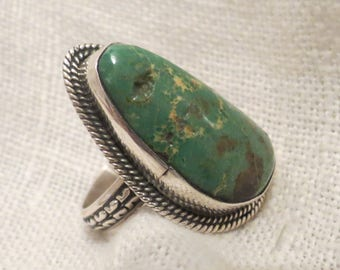 Chimney Butte Sterling Silver Turquoise Ring SZ 7.5