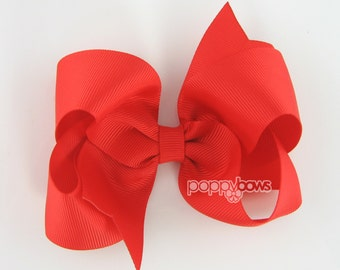 Girls Hair Bow - bright red hair bow - 4 inch bows - large hair bows - girl hair bows - bows for girls - toddler hair bows - big hair bows