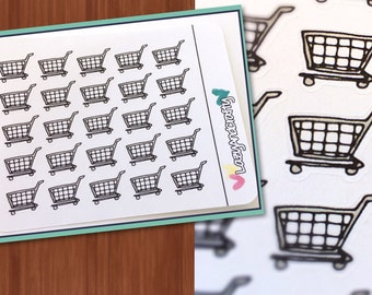 Shopping Cart Stickers - Planner Stickers - Erin Condren, Happy Planner, Filofax, and more!