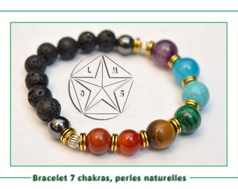 Bracelet 7 chakras made with natural stones, lava stone, hematite, red Jasper, Tiger eye, malachite.
