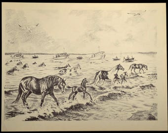 Chincoteague Print Wild Pony Wall Art Wall Decor Swim Assateague Horse