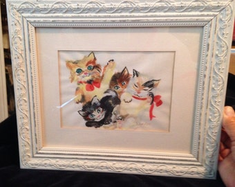 Vintage Watercolor Kittens Cats Framed
