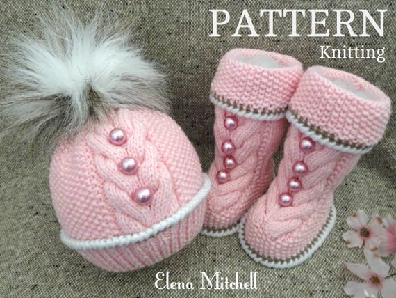 Baby Knitting Pattern Knitted Baby Set Baby Beanie Baby Shoes