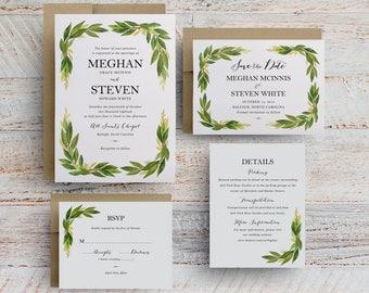 watercolor greenery wedding invitations, wedding programs, greenery invitation templates, menu card for wedding reception template