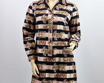 Vintage 1970's Stripy Floral Pattern Shift Midi Dress