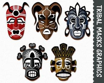 Tribal Masks Clip Art Graphics Masks Clipart Scrapbook African Digital Download Transparent PNG Printable Vector Commercial Use