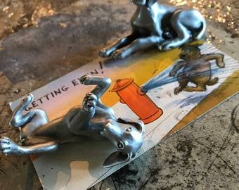 Adorable Pewter Dog Figurines
