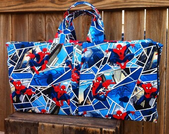 Ready to ship!  Spiderman Nap Mat Cover with attached minky blanket