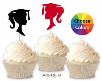 Graduation Cupcake Topper Girl Silhouette Confetti 2018 Party Decoration Supply Straw Topper 2 1/2 Inch Set Of 15 Choose from 20 Colors